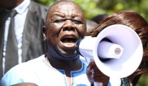 Leader of the opposition party Movement for Democratic Change (MDC-T), Morgan Tsvangirai, speaks to supporters during a protest against poverty and corruption, in Harare, Zimbabwe, 14 April 2016. EPA/AARON UFUMELI