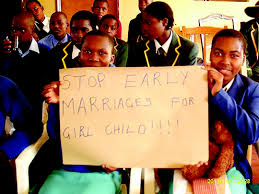 Protesters against child marriages.