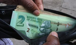 A Zimbabwean man shows off new bond notes in Harare. Photograph: Philimon Bulawayo/Reuters